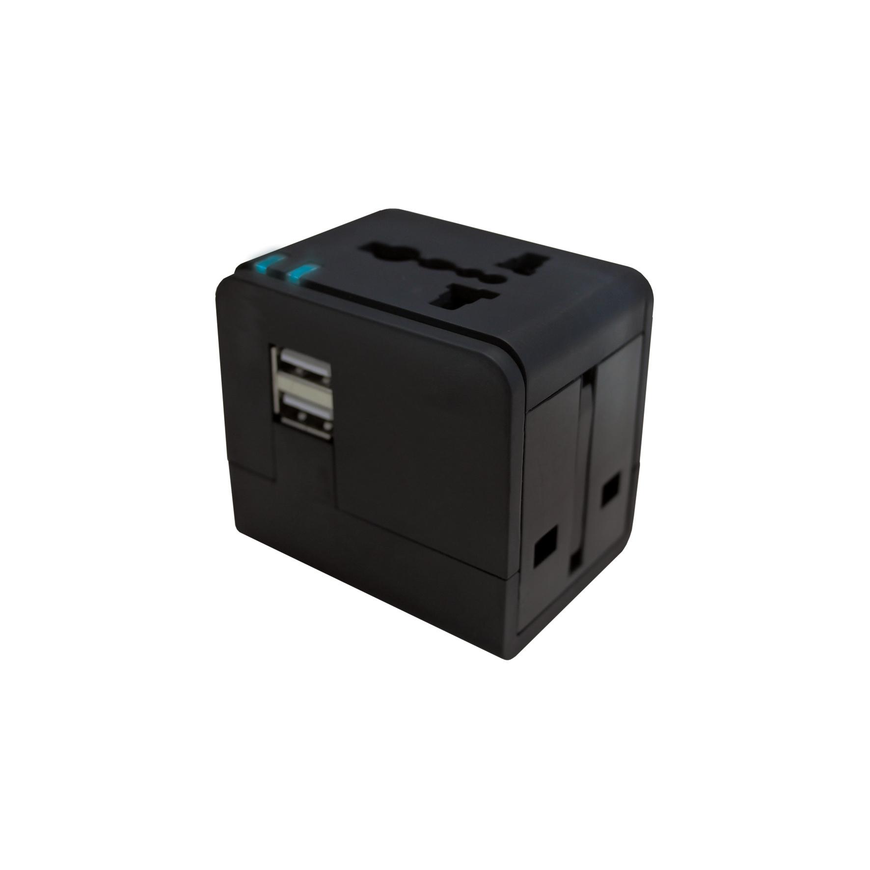 Jivo Technology World Travel Plug w/Dual USB-Blk