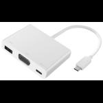 2-Power HUB0105A 0.06m USB C USB C + USB A + VGA White video cable adapter
