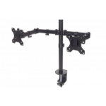 "Manhattan Monitor Dual Desk Mount (clamp), 2 screens, 10-27"", Vesa 75x75 to 100x100mm, 3 pivots (full motion), Height Up to 44.3cm, Max 16kg, Black, Box"