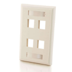 C2G 4-Port Single Gang Multimedia Keystone Wall Plate White flat panel wall mount