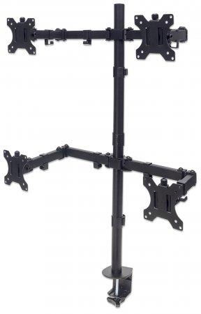 "Manhattan Monitor Desk Mount (stand, clamp), 4 screens, 10-27"", Vesa 75x75 to 100x100mm, 1 pivot, Height up to 88.3cm, Max 32kg, Black"