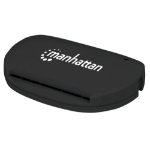Manhattan USB-A Smart/SIM Card Reader, 480 Mbps (USB 2.0), Compact, Friction Type compatible, Cable 3.5cm, Black, Blister