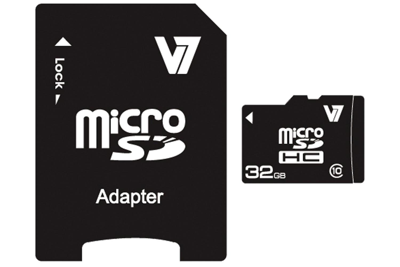 V7 Micro SDHC 32GB Class 10 + SD Adapter VAMSDH32GCL10R-2E