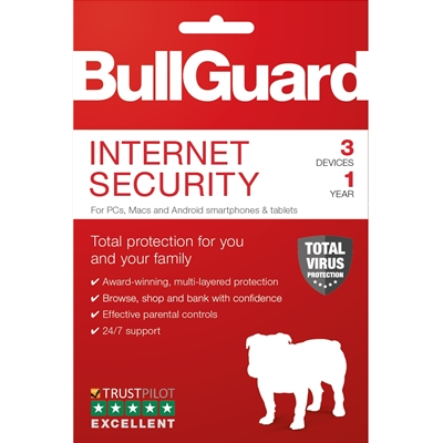 BullGuard Internet Security 2019 1Year/3 Device Multi Device Single Retail Licence English