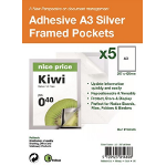 PELLTECH S/Adhesive A3 Silver Display Frames w/ Magnetic Closure Pk5