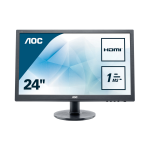 "AOC Essential-line E2460SH computer monitor 61 cm (24"") 1920 x 1080 pixels Full HD LCD Flat Matt Black"