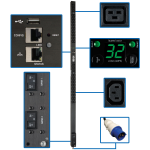 Tripp Lite 7.4kW Single-Phase Monitored PDU, LX Interface, 230V Outlets (36 C13/6 C19), IEC 309 32A Blue, 3.05 m Cord, 0U 1.8m Height
