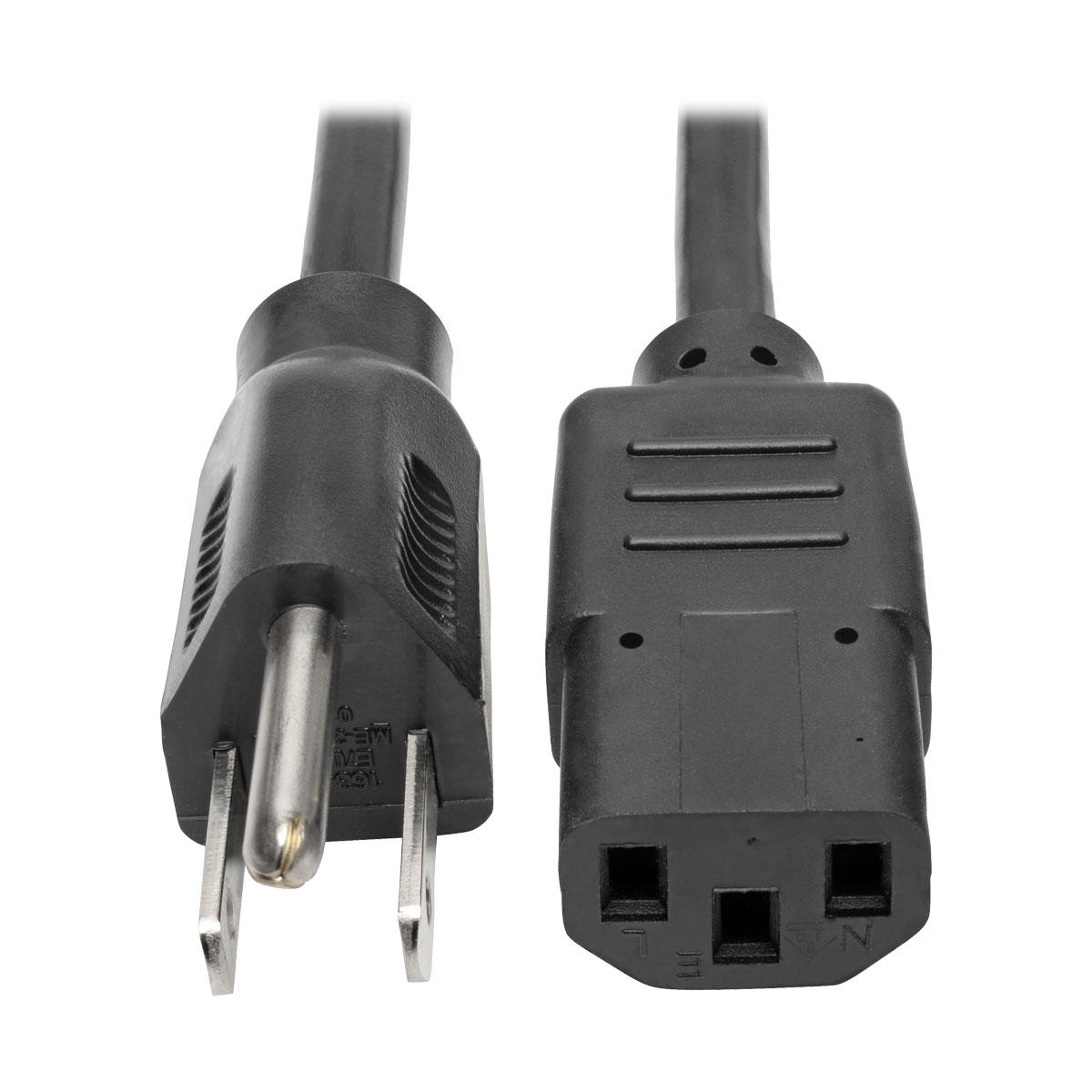 6ft 14 AWG Universal Power Cord IEC320 C13 to NEMA 5-15P SJT 15A