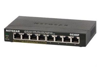 Netgear GS308P Unmanaged Gigabit Ethernet (10/100/1000) Black Power over Ethernet (PoE)