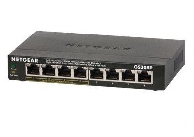 Netgear GS308P Unmanaged Gigabit Ethernet (10/100/1000) Power over Ethernet (PoE) Black