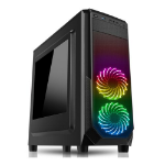 Spire PRISM ATX Gaming Case with Window, No PSU, RGB LED Fans, Black