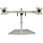"StarTech.com Dual Monitor Stand - Ergonomic Free Standing Dual Monitor Desktop Stand for two 24"" VESA Mount Displays - Synchronized Height Adjustable - Double Monitor Pole Mount - Silver"