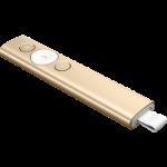 LOGITECH SPOTLIGHT PRESENTATION REMOTE- GOLD, BLUETOOTH OR USB CONNECT, 30M RANGE-1YR WTY