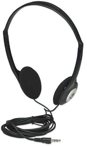 Manhattan Stereo Headphones, Lightweight and adjustable with cushioned earpads, two 3.5mm plugs, cable 2.2m, Black, Blister