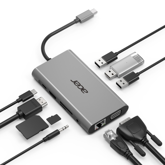 Acer HP.DSCAB.002 interface hub USB 3.2 Gen 1 (3.1 Gen 1) Type-C 5000 Mbit/s Silver