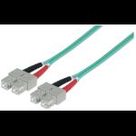 Intellinet Fibre Optic Patch Cable, Duplex, Multimode, SC/SC, 50/125 µm, OM3, 2m, LSZH, Aqua, Fiber, Lifetime Warranty