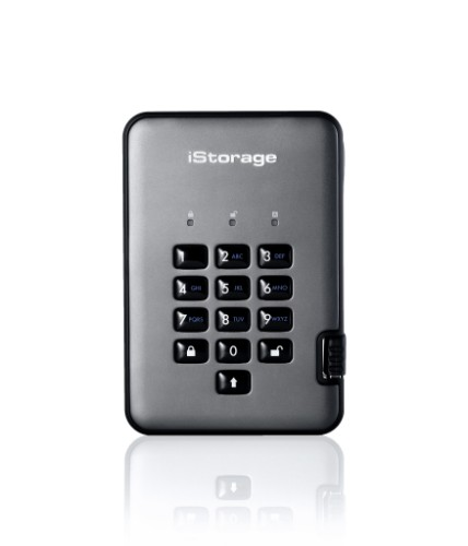 iStorage diskAshur PRO2 256-bit 256GB USB 3.1 secure encrypted solid-state drive IS-DAP2-256-SSD-256-C-G