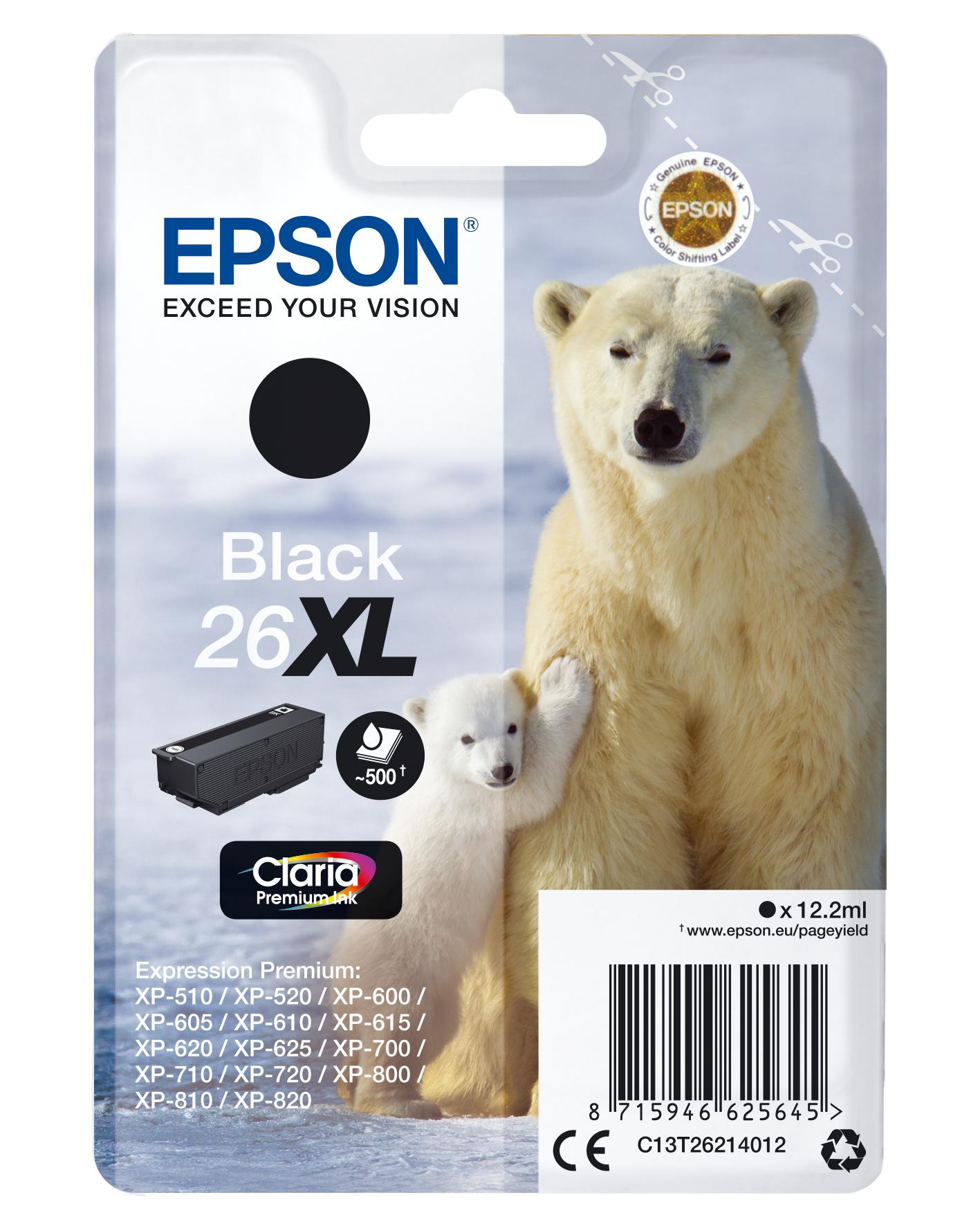 Epson Cartucho 26XL negro (etiqueta RF)