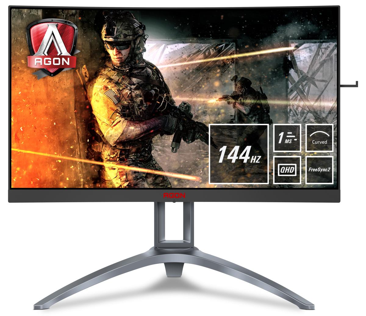 "AOC Gaming AG273QCX pantalla para PC 68,6 cm (27"") 2560 x 1440 Pixeles Wide Quad HD LED Negro, Rojo, Plata"