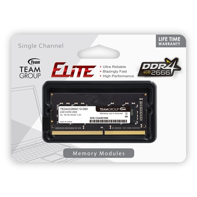 Team Group Elite 4GB No Heatsink (1 x 4GB) DDR4 2666MHz SODIMM System Memory