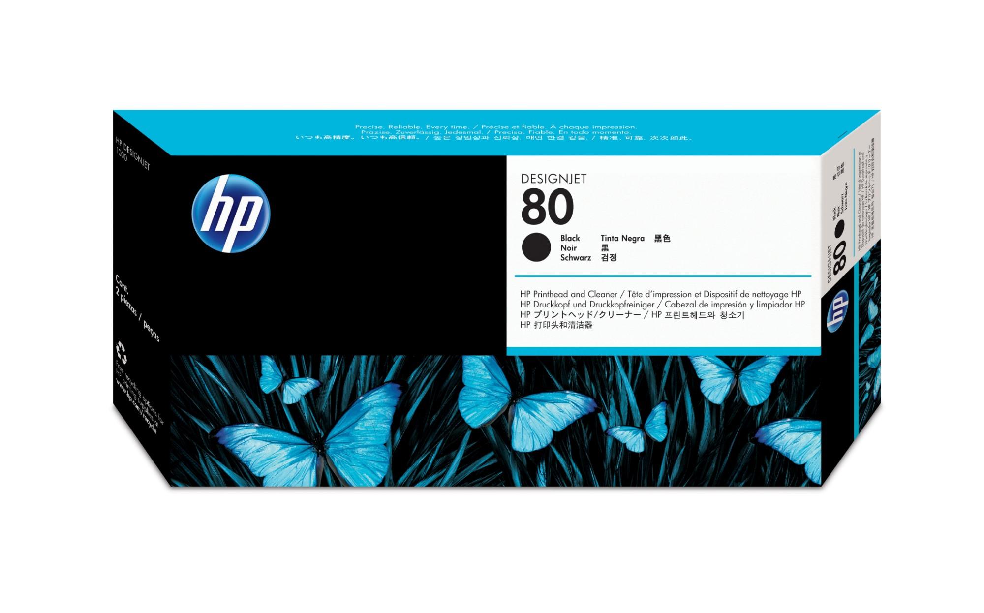 HP 80 zwarte DesignJet printkop en printkopreiniger