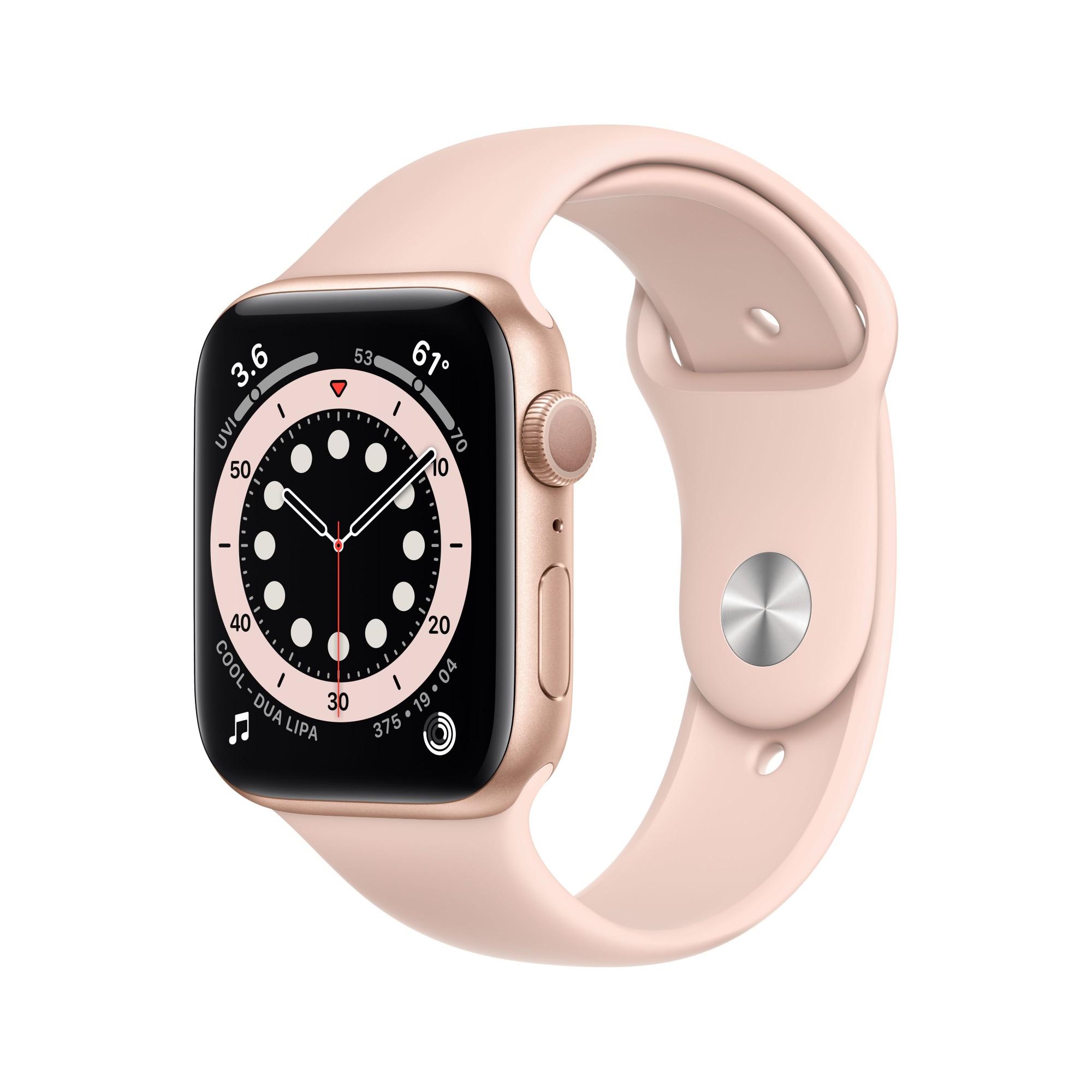 Apple Watch Series 6 GPS, 44mm Gold Aluminium Case with Pink Sand Sport Band - Regular