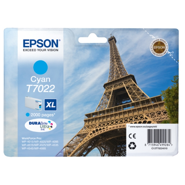 Epson C13T70224010 (T7022) Ink cartridge cyan, 2K pages, 21ml