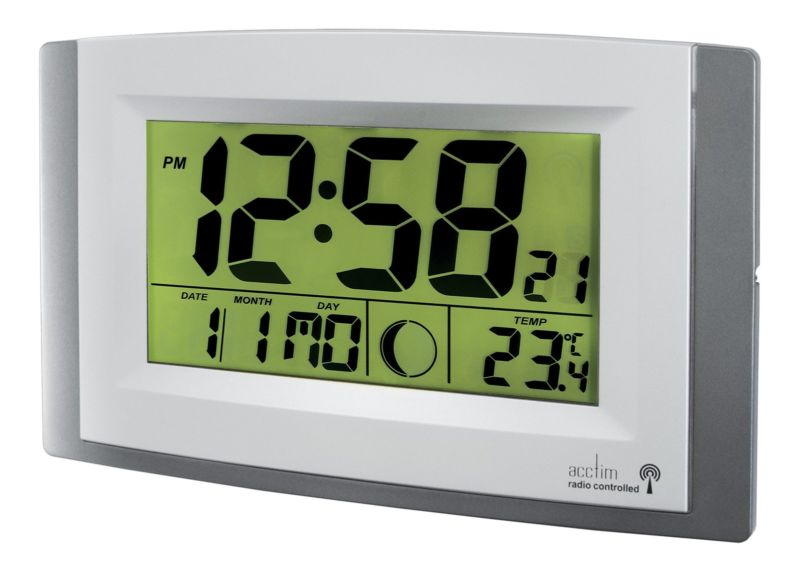 Anglo Continental Acctim Stratus Radio Control LCD wall Clock Silver 74057SL