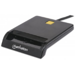 Manhattan Contact Smart Card Reader, USB, Friction type compatible, External, Windows or Mac, Cable 105cm, Black, Blister