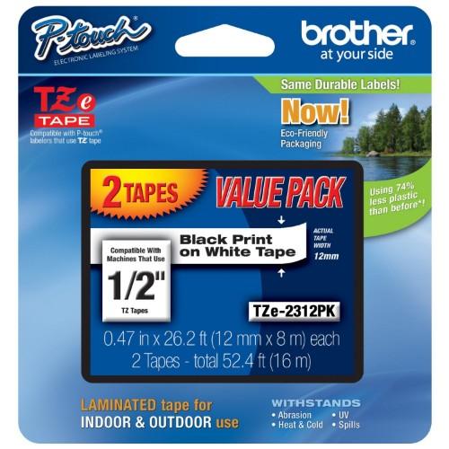 Brother TZE2312PK label-making tape Black on white TZe