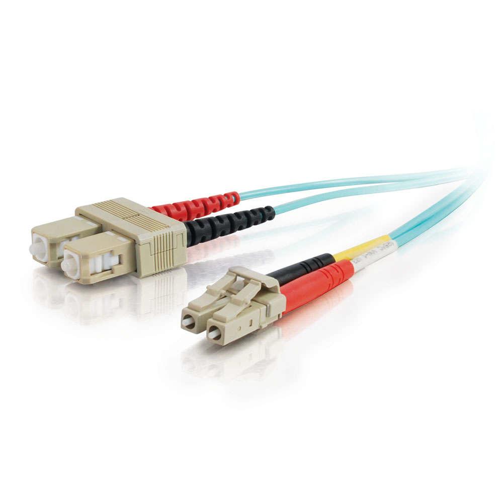 C2G 85539 cable de fibra optica 30 m OFNR LC SC Turquesa