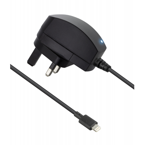 Wired Mains Charger Black 2.1a Apple Lightning Mfi
