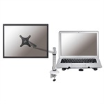 "Newstar Desk Mount (clamp) for Laptop & Monitor (10-27""), Height Adjustable - Silver"
