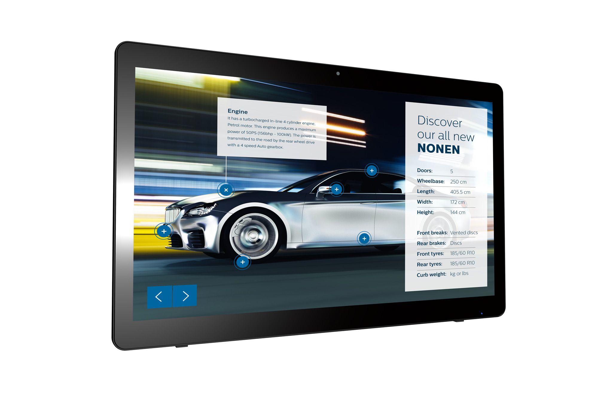 "Philips Signage Solutions 24BDL4151T/00 pantalla de señalización 59,9 cm (23.6"") LED Full HD Pantalla táctil Pantalla plana para señalización digital Negro Android 7.1.2"