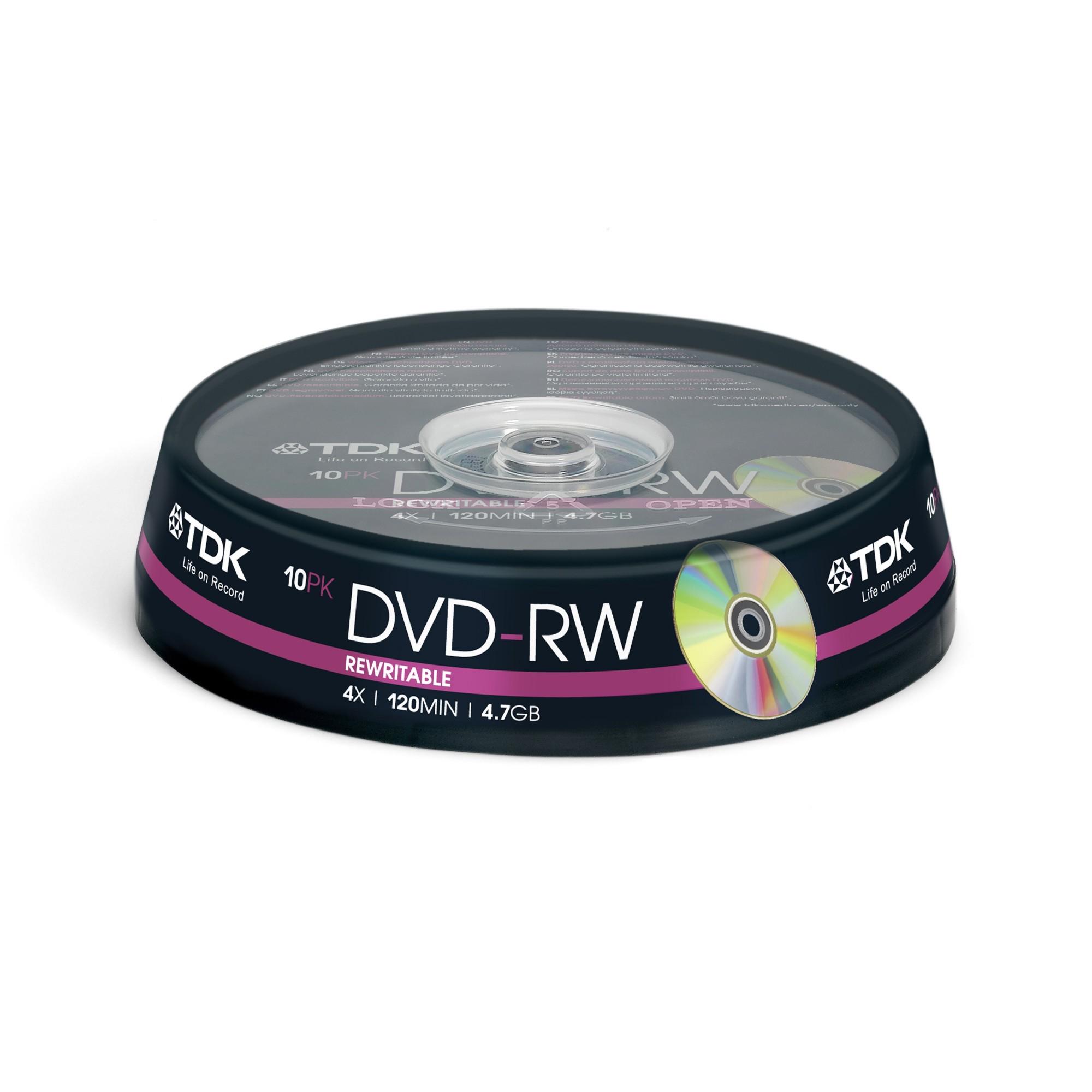 DVD-rw Media 4x - 4.7GB 10-pk Cakebox