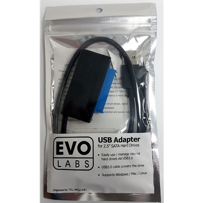"""EVO LABS USB 3.0 A (M) to SATA (M) Black Retail Packaged Converter Adapter Cable - For use with 2.5"""""""