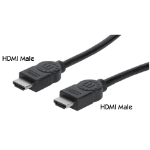 Manhattan HDMI Cable with Ethernet, 4K@30Hz (High Speed), 3m, Male to Male, Black, Equivalent to Startech HDMM3MHS, Ultra HD 4k x 2k, Fully Shielded, Gold Plated Contacts, Lifetime Warranty, Polybag
