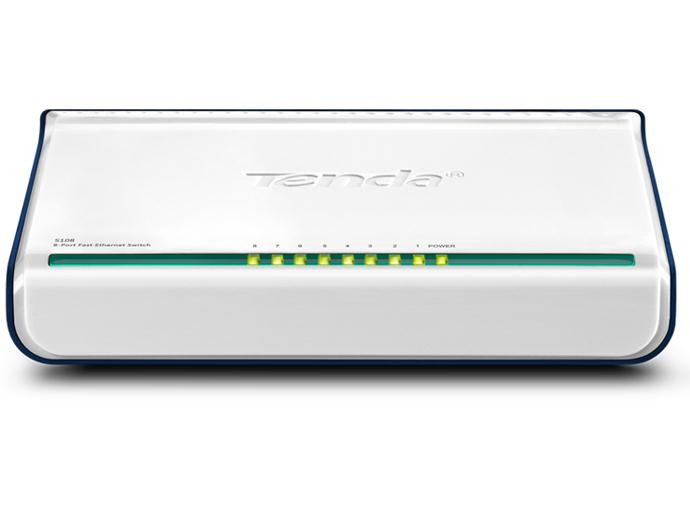 Tenda 8-Port Fast Ethernet Switch Unmanaged White