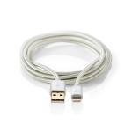 Nedis CCTB39300AL30 mobile phone cable Aluminium USB A Lightning 3 m
