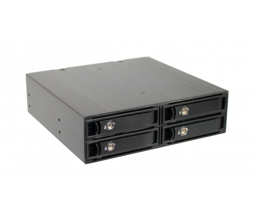CRU RJ24S- Fits in 5.25in PC bay- up to 4 2.5in SATA or SAS drives in durable removable carriers- 4