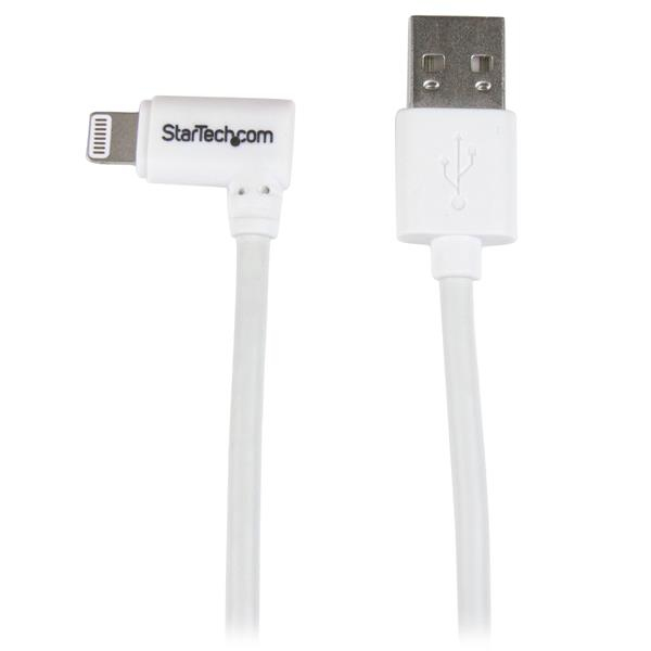 StarTech.com Angled Lightning to USB Cable - 1 m (3 ft.), White