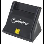 Manhattan Smart/SIM Card Reader, USB 2.0, Desktop Standing, Friction Type compatible, Cable 86cm, Black, Blister