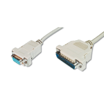 ASSMANN Electronic AK-580105-030-E 3m D-Sub25 D-Sub9 Beige seriële kabel