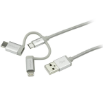 StarTech.com LTCUB1MGR 1m USB A USB C/Micro-USB B/Lightning Male Male Silver USB cable