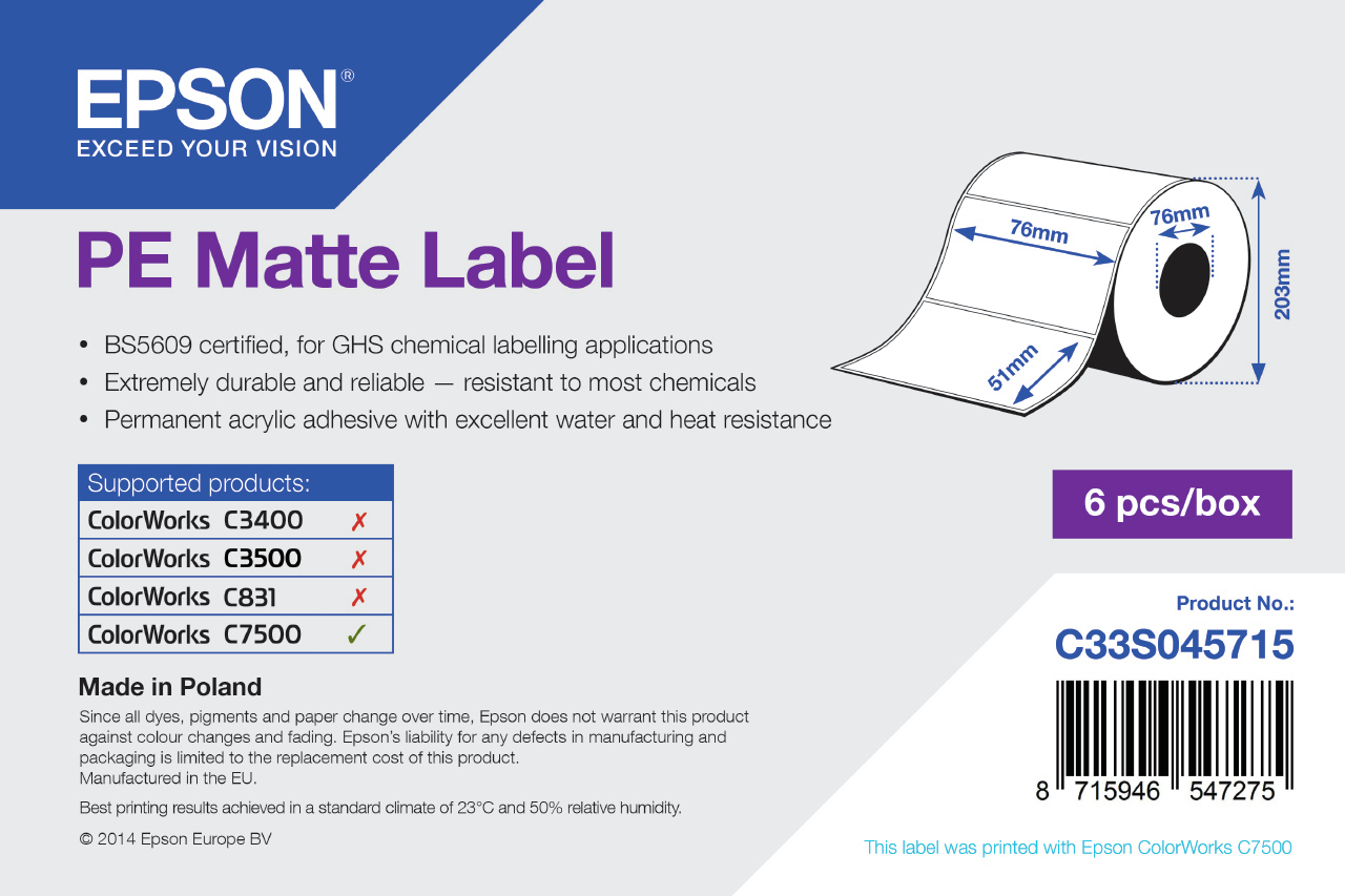 Epson PE Matte Label - Die-cut Roll: 76mm x 51mm, 2310 labels