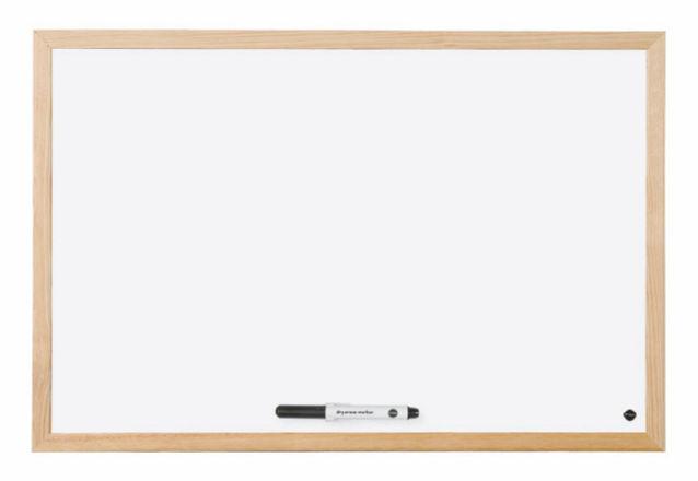 Bi-Office Drywipe Whiteboard Wood Frame 400mm X 300mm