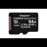 Kingston Technology Canvas Select Plus memory card 64 GB MicroSDXC Class 10 UHS-I
