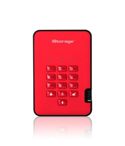 iStorage diskAshur2 256-bit 256GB USB 3.1 secure encrypted solid-state drive - Red IS-DA2-256-SSD-256-R