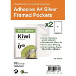 PELLTECH S/Adhesive A4 Silver Display Frames w/ Magnetic Closure Pk2