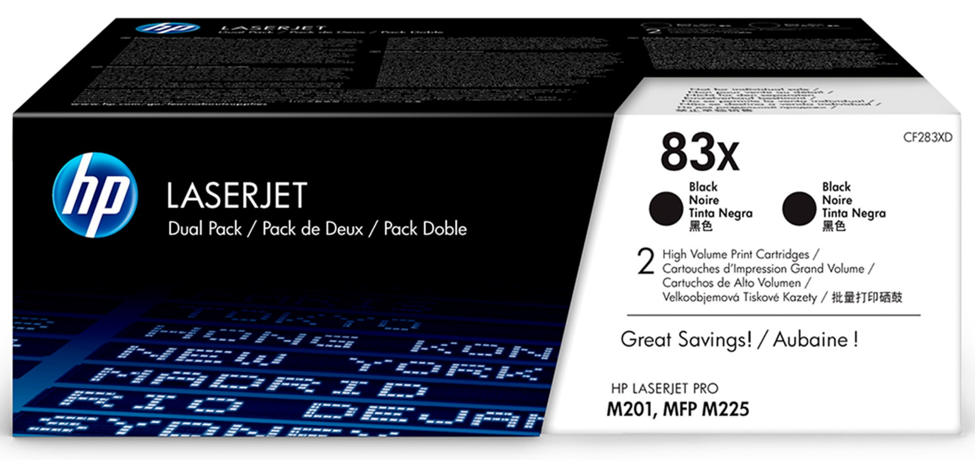HP CF283XD (83X) Toner black, 2 2K pages, Pack qty 2